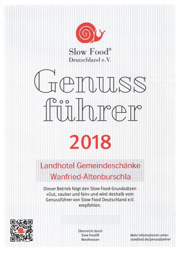 Slow Food Urkunde 2018