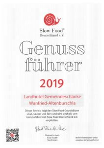 Slow Food Urkunde 2019