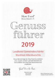 Slow Food Urkunde 2019